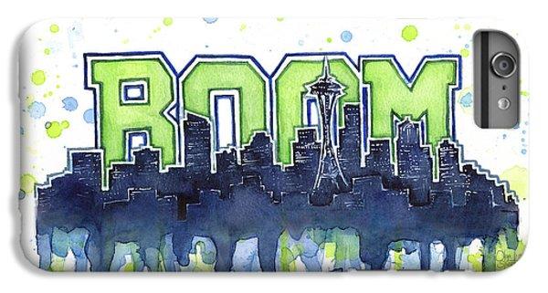 Hawk iPhone 6s Plus Case - Seattle 12th Man Legion Of Boom Watercolor by Olga Shvartsur