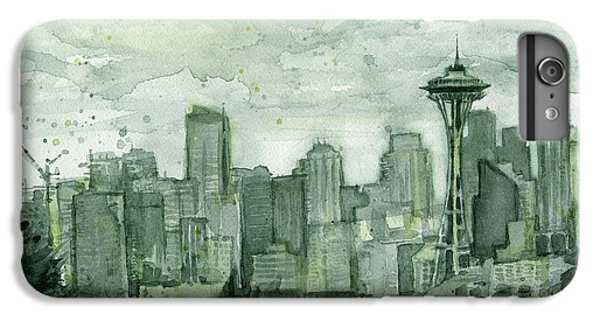 Seattle Skyline Watercolor Space Needle IPhone 6s Plus Case by Olga Shvartsur