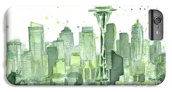 Seattle iPhone 6s Plus Case - Seattle Watercolor by Olga Shvartsur