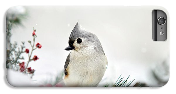 Snow White Tufted Titmouse IPhone 6s Plus Case by Christina Rollo
