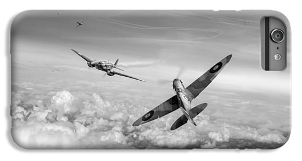 IPhone 6s Plus Case featuring the photograph Spitfire Attacking Heinkel Bomber Black And White Version by Gary Eason