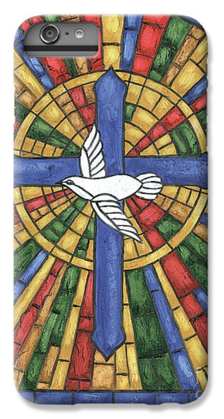 Dove iPhone 6s Plus Case - Stained Glass Cross by Debbie DeWitt