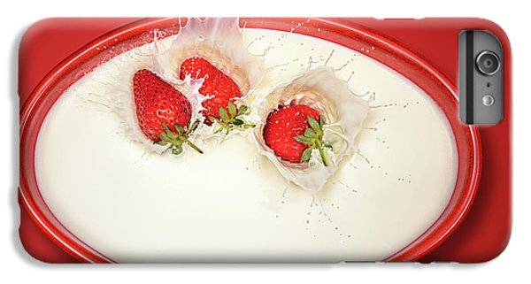 Strawberry iPhone 6s Plus Case - Strawberries Splashing In Milk by Johan Swanepoel