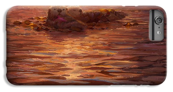 Otter iPhone 6s Plus Case - Sunset Snuggle - Sea Otters Floating With Kelp At Dusk by Karen Whitworth