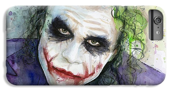 Knight iPhone 6s Plus Case - The Joker Watercolor by Olga Shvartsur