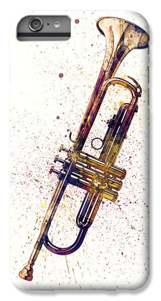 Trumpet iPhone 6s Plus Case - Trumpet Abstract Watercolor by Michael Tompsett