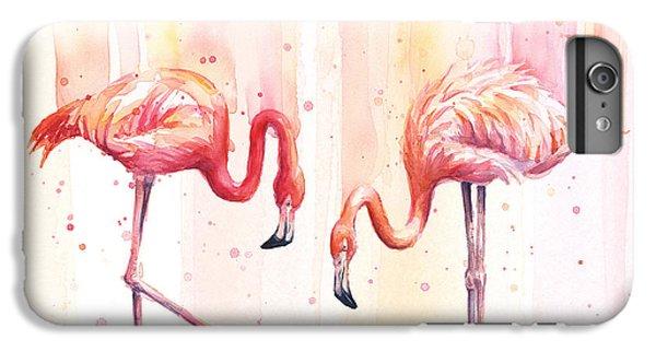 Flamingo iPhone 6s Plus Case - Two Flamingos Watercolor by Olga Shvartsur