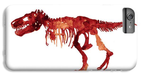 Tyrannosaurus Rex Skeleton Poster, T Rex Watercolor Painting, Red Orange Animal World Art Print IPhone 6s Plus Case by Joanna Szmerdt