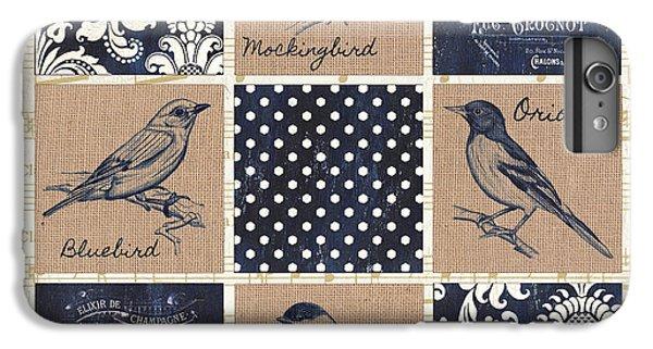 Bluebird iPhone 6s Plus Case - Vintage Songbird Patch 2 by Debbie DeWitt