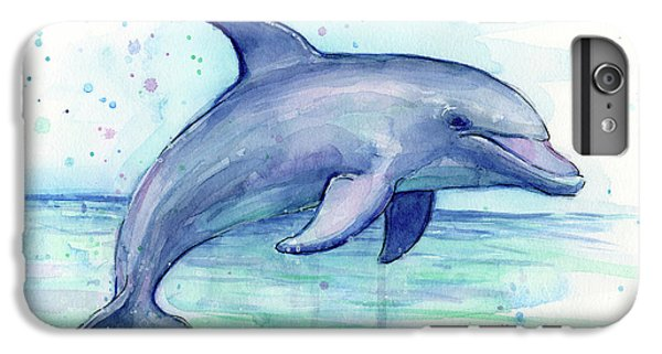 Dolphin iPhone 6s Plus Case - Watercolor Dolphin Painting - Facing Right by Olga Shvartsur