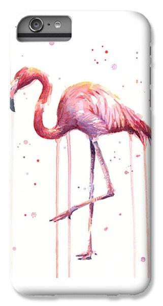Flamingo iPhone 6s Plus Case - Watercolor Flamingo by Olga Shvartsur