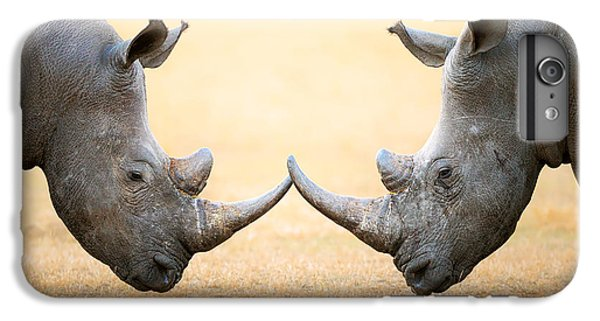 White Rhinoceros  Head To Head IPhone 6s Plus Case by Johan Swanepoel