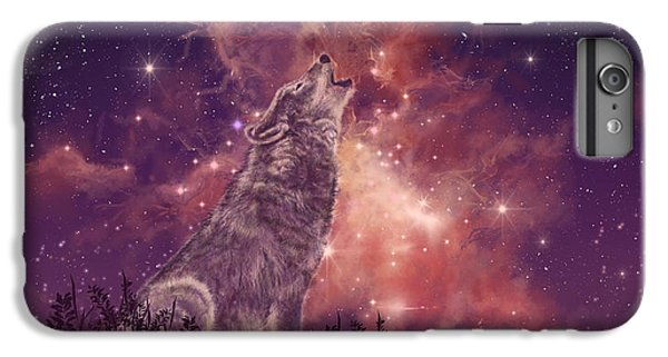 Space iPhone 6s Plus Case - Wolf And Sky Red by Bekim M