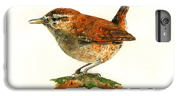 Wren iPhone 6s Plus Case - Wren Bird Art Painting by Juan  Bosco