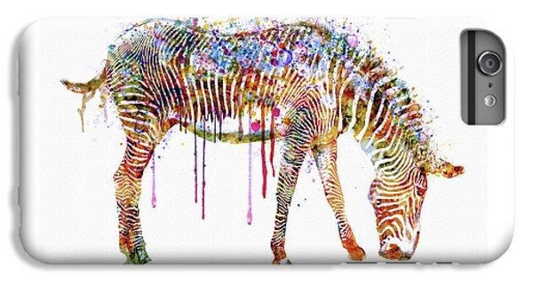 Zebra iPhone 6s Plus Case - Zebra Watercolor Painting by Marian Voicu