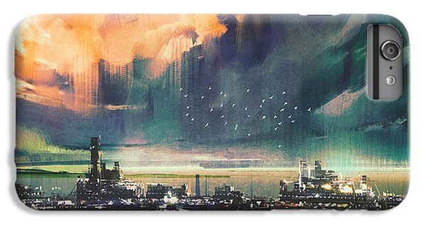 Town iPhone 6s Plus Case - Landscape Digital Painting Of Sci-fi by Tithi Luadthong