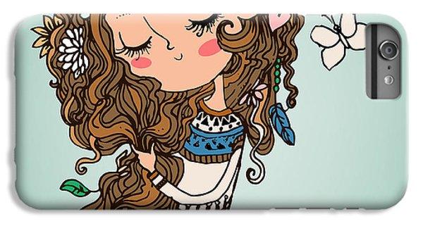 Flower Fairy iPhone 6s Plus Case - Cartoon Girl With Long Hairs by Elena Barenbaum
