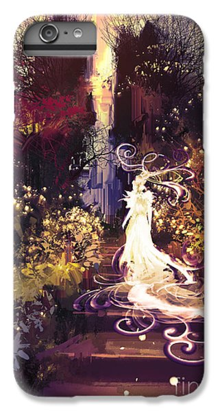 Flower Fairy iPhone 6s Plus Case - Fantasy Landscape Painting Of Beautiful by Tithi Luadthong