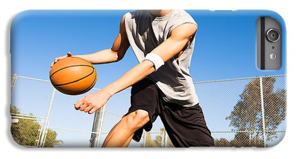 Fitness iPhone 6s Plus Case - Handsome Male Playing Basketball Outdoor by Pkpix