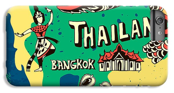 Dragon iPhone 6s Plus Case - Illustrated Map Of Thailand by Daria i