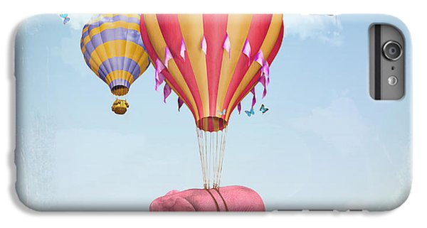 Fairy iPhone 6s Plus Case - Pink Elephant In The Sky With Balloons by Ganna Demchenko