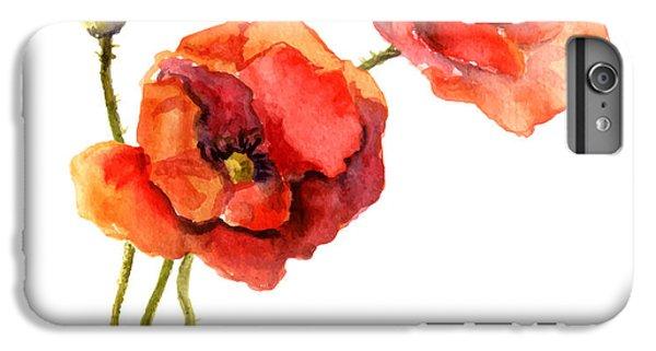 Floral iPhone 6s Plus Case - Poppy Flower. Watercolor Vector by Le Panda