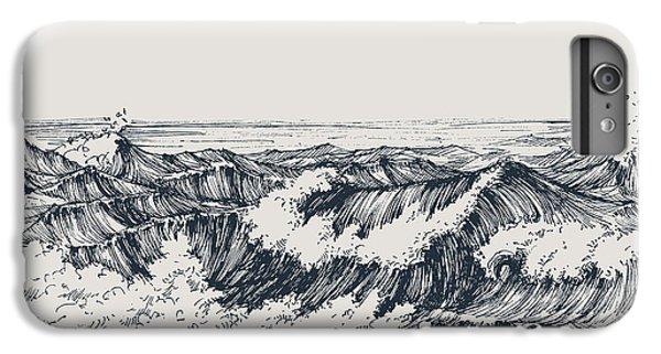 Space iPhone 6s Plus Case - Sea Or Ocean Waves Drawing. Sea View by Danussa