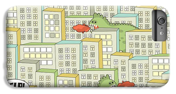 Dragon iPhone 6s Plus Case - Seamless Pattern With Buildings And by Eka Panova