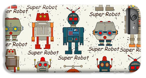 Space iPhone 6s Plus Case - Seamless Robot Pattern,cartoon Vector by Pgmart