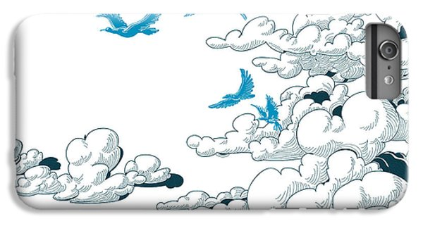 Space iPhone 6s Plus Case - Sky Background, Clouds And Blue Birds by Danussa