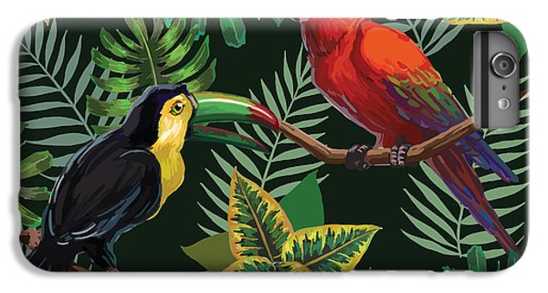 Scarlet iPhone 6s Plus Case - Vector Painting With Tropical Birds And by Julial