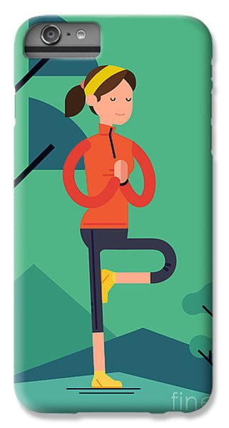 Fitness iPhone 6s Plus Case - Vector Sport Young Woman Character by Mascha Tace