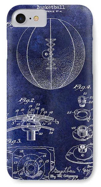 1927 Basketball Patent Drawing Blue IPhone Case