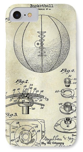 1927 Basketball Patent Drawing IPhone Case