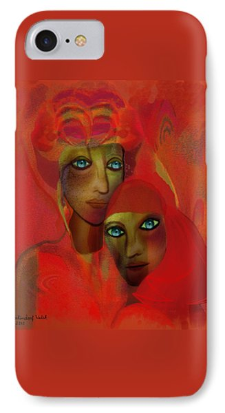 260 - Women In Red ... IPhone Case by Irmgard Schoendorf Welch