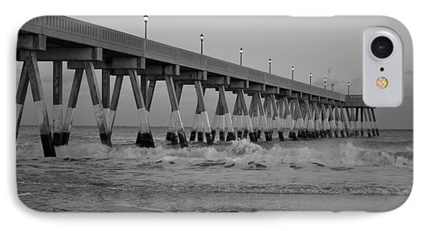 A Black And White Of Johnnie Mercers Pier At Daybreak IPhone Case