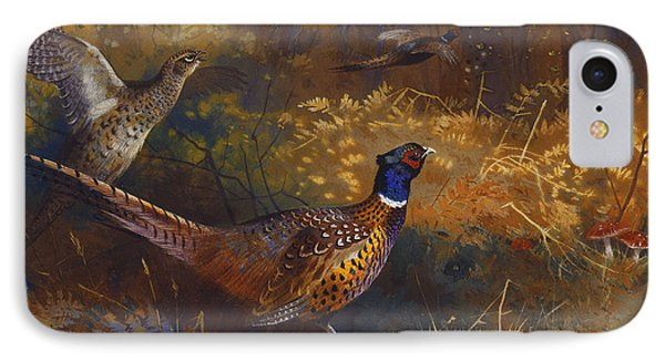 A Cock And Hen Pheasant At The Edge Of A Wood IPhone Case