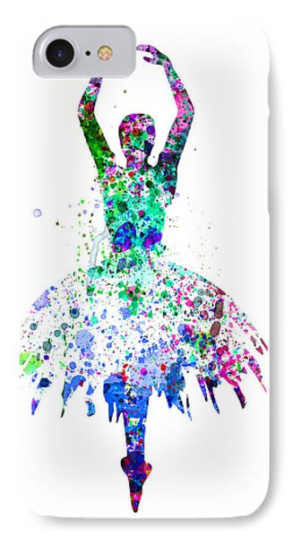 Ballerina Dancing Watercolor 4 IPhone Case by Naxart Studio