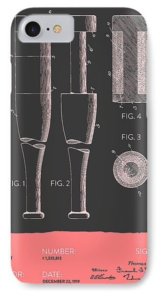 Baseball Bat Patent From 1919 - Gray Salmon IPhone Case by Aged Pixel