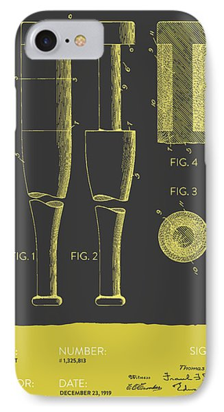 Baseball Bat Patent From 1919 - Gray Yellow IPhone Case by Aged Pixel