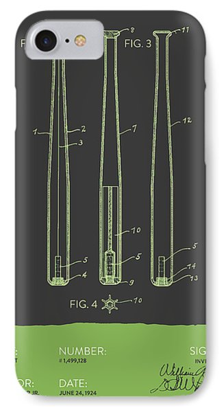 Baseball Bat Patent From 1924 - Gray Green IPhone Case by Aged Pixel