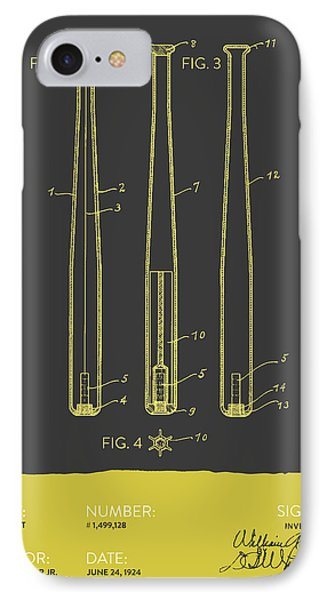 Baseball Bat Patent From 1924 - Gray Yellow IPhone Case by Aged Pixel