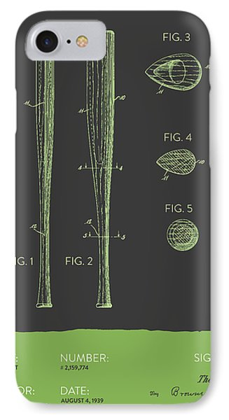 Baseball Bat Patent From 1939 - Gray Green IPhone Case by Aged Pixel