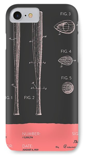Baseball Bat Patent From 1939 - Gray Salmon IPhone Case by Aged Pixel