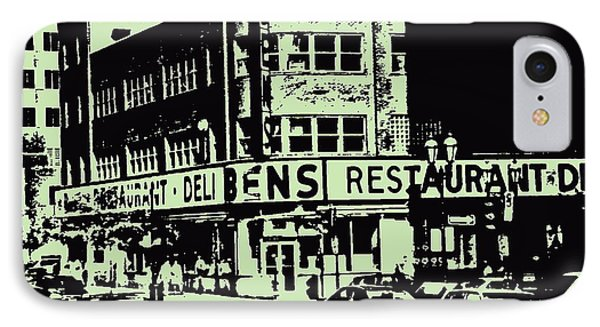 Ben's Resto Delicatessan Lunchtime Crowds And Traffic Jams Vintage Montreal Memorabilia Phone Case by Carole Spandau