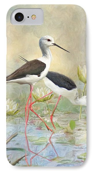 IPhone Case featuring the digital art  Black Winged Stilt by Trudi Simmonds