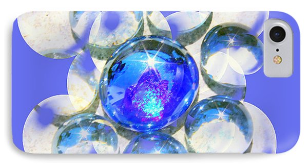 Blue Glass Bubble Abstract Phone Case by Judy Palkimas