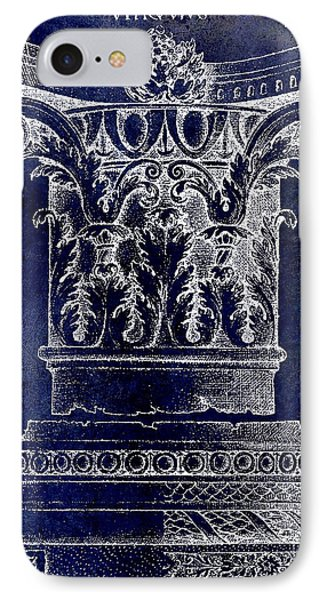 Corinthian Column Blue IPhone Case by Jon Neidert