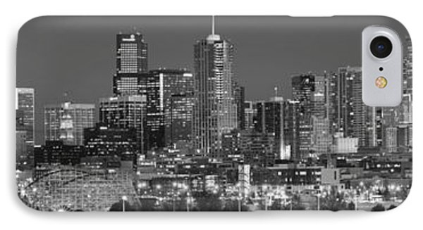 IPhone Case featuring the photograph  Denver Skyline At Dusk Black And White Bw Evening Extra Wide Panorama Broncos  by Jon Holiday