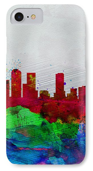 Denver Watercolor Skyline IPhone Case by Naxart Studio